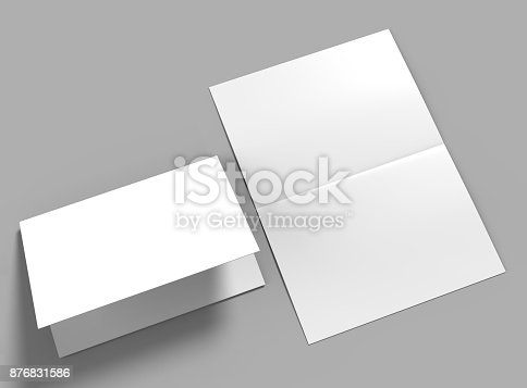 istock Half-fold horizontal brochure blank white template for mock up and presentation design. 3d illustration. 876831586