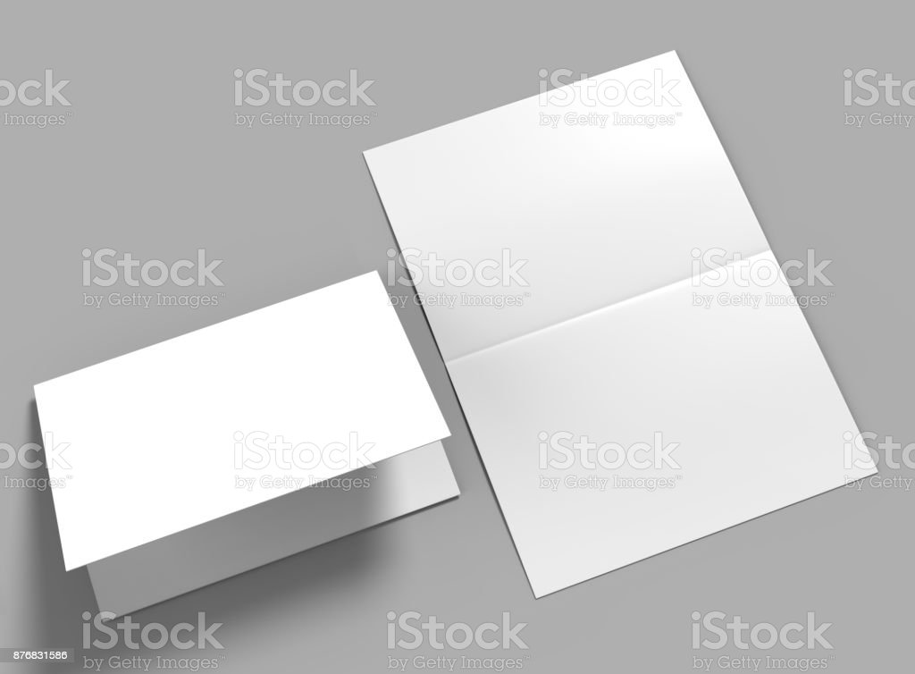 Half-fold horizontal brochure blank white template for mock up and presentation design. 3d illustration. stock photo