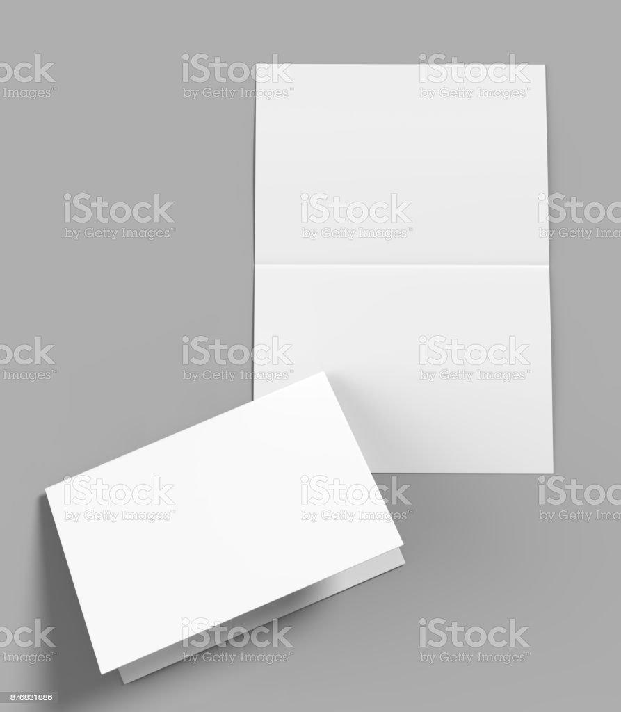 Semidesnuda folleto horizontal en blanco plantilla blanca para mock up y diseño de presentación. Ilustración 3D. foto de stock libre de derechos