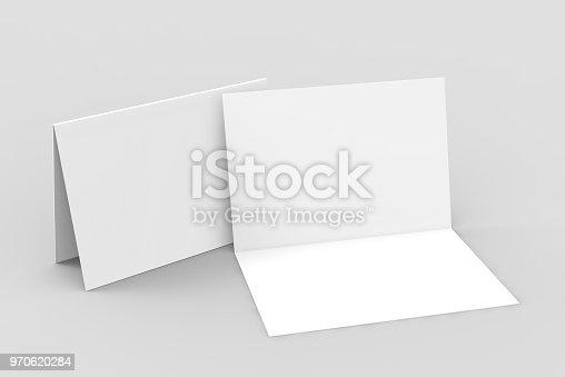 istock Half-fold horizontal brochure blank white template for mock up and presentation design. 3d illustration. 970620284