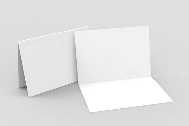 half-fold horizontal brochure blank white template for mock up and presentation design. 3d illustration. - card stock photos and pictures