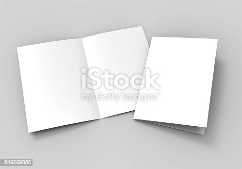 istock A3 A4 A5 half-fold or by-fold brochure blank white template for mock up and presentation design. 3d illustration. 849069350