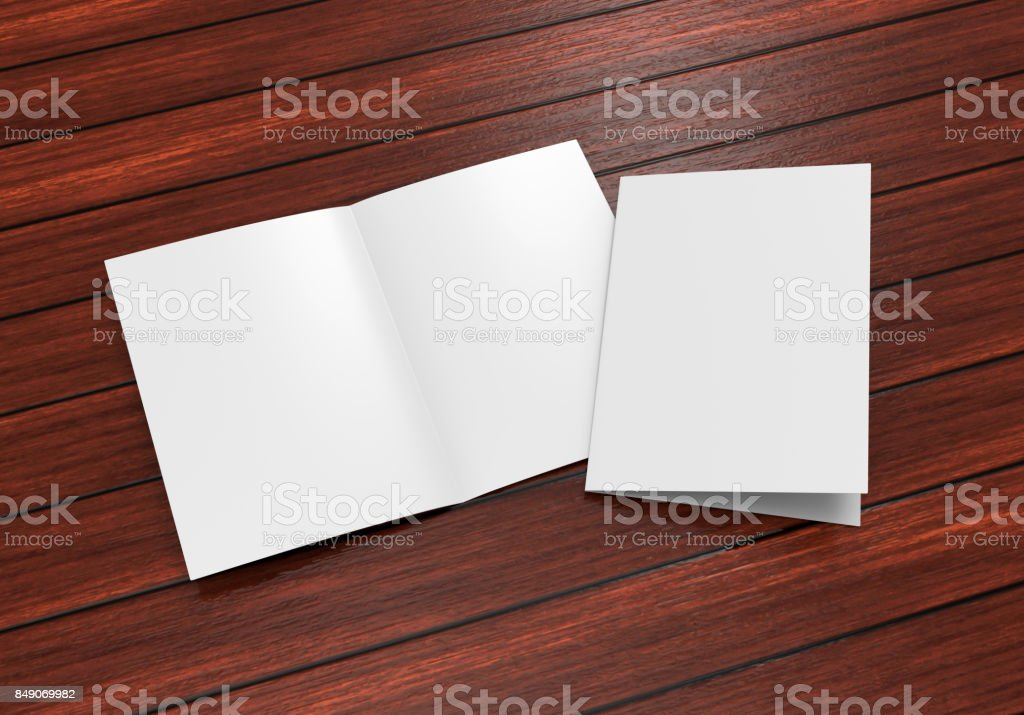 A3 A4 A5 half-fold or by-fold brochure blank white template for mock up and presentation design. 3d illustration. stock photo