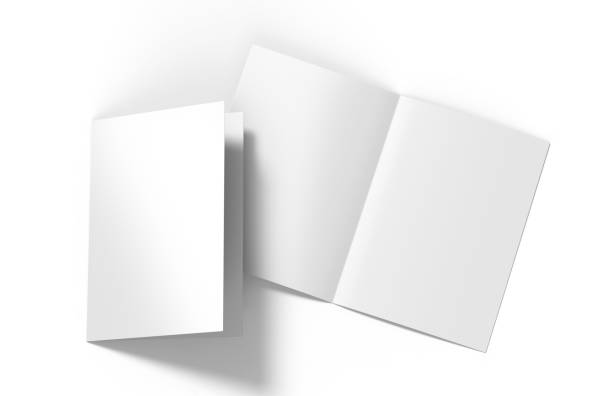 A3 A4 A5 half-fold or by-fold brochure blank white template for mock up and presentation design. 3d illustration stock photo