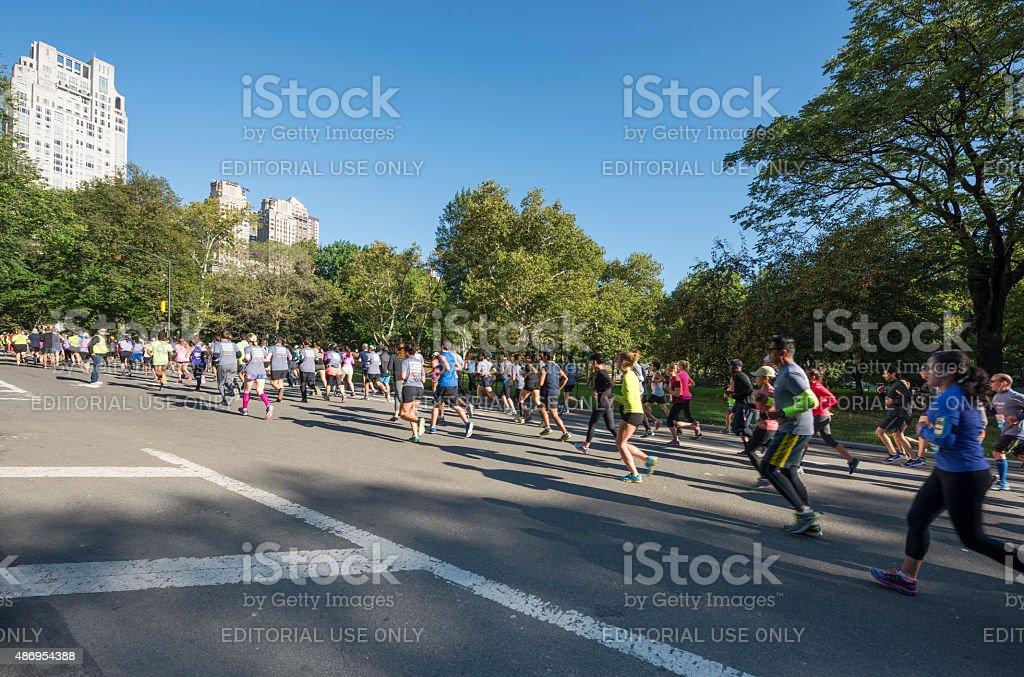 Half-marathon in Central Park in New York City stock photo
