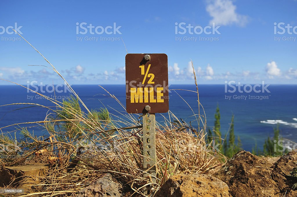 Half-mile marker on Kalalau Trail, Kauai stock photo