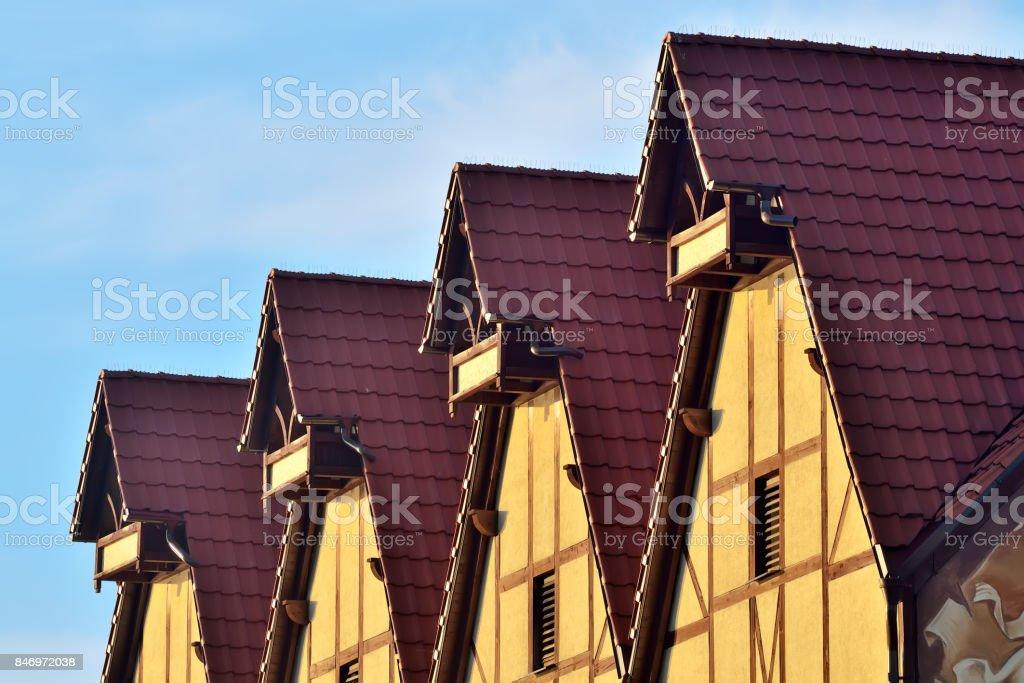 Half-timbered architecture. Fish village, Kaliningrad, Russia stock photo