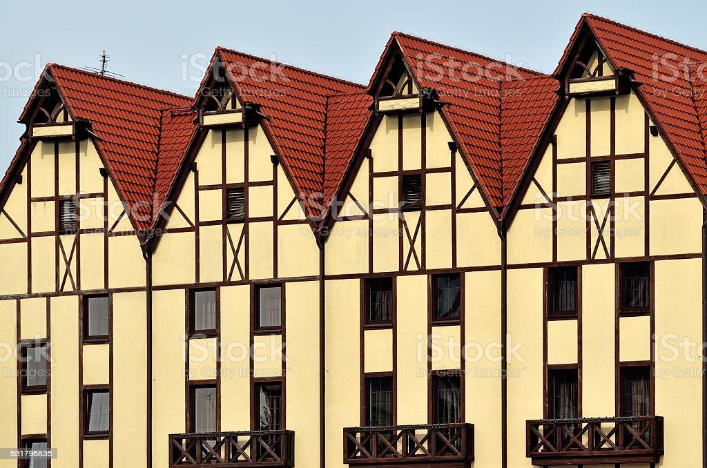 Half-timbered architecture. Fishing Village, Kaliningrad, Russia stock photo