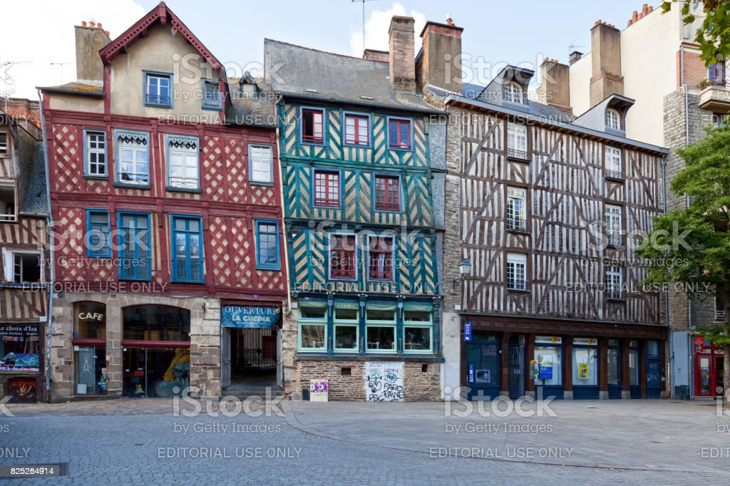 Half-timbered buildings in Rennes stock photo