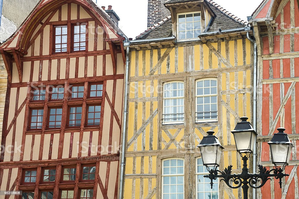 Half-timbered buildings with windows royalty-free stock photo