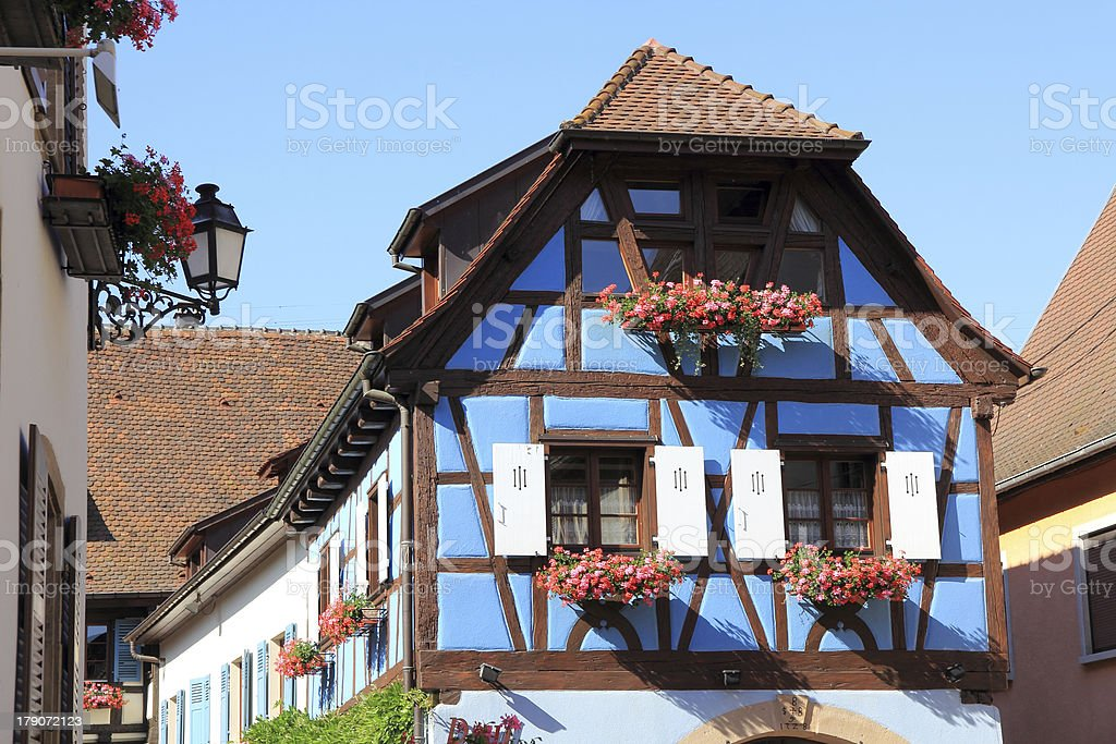 Half-timbered house in Alsace stock photo