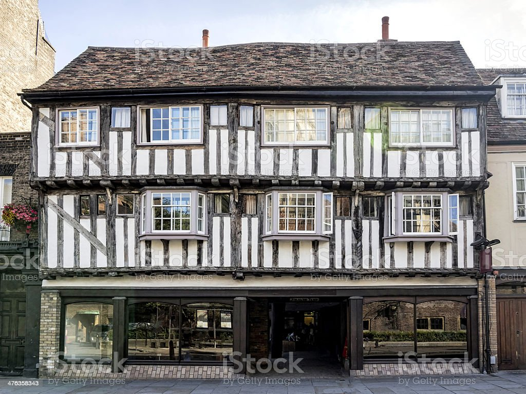Half-timbered house in Cambridge, England stock photo