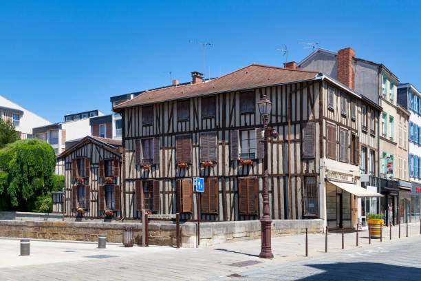 Half-timbered house in Chalons-en-Champagne stock photo