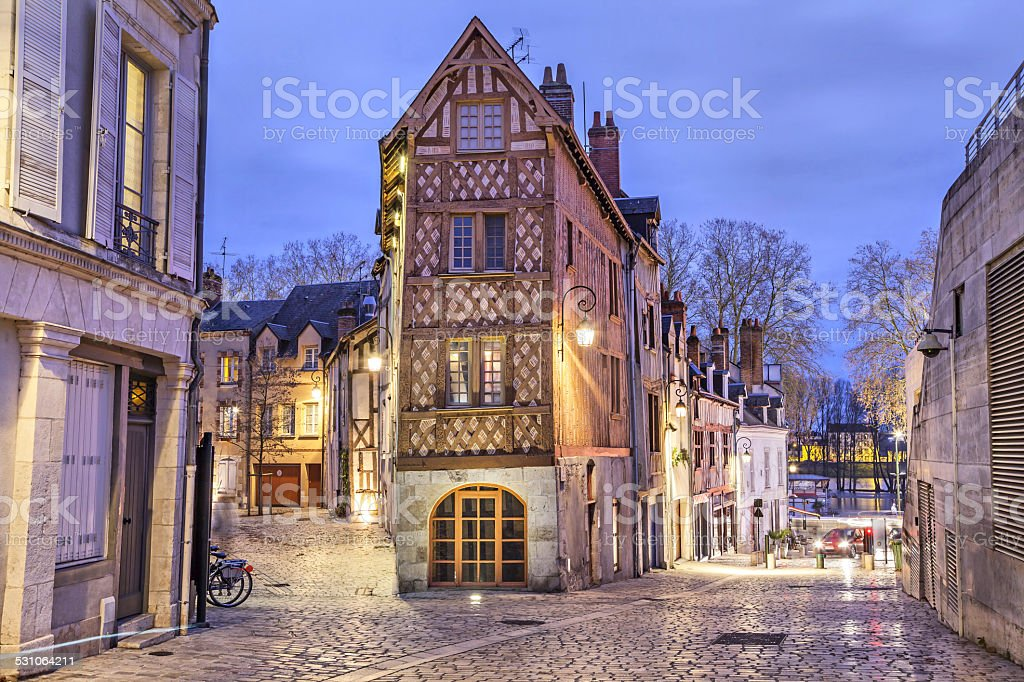 Half-timbered house in the center of Orleans stock photo