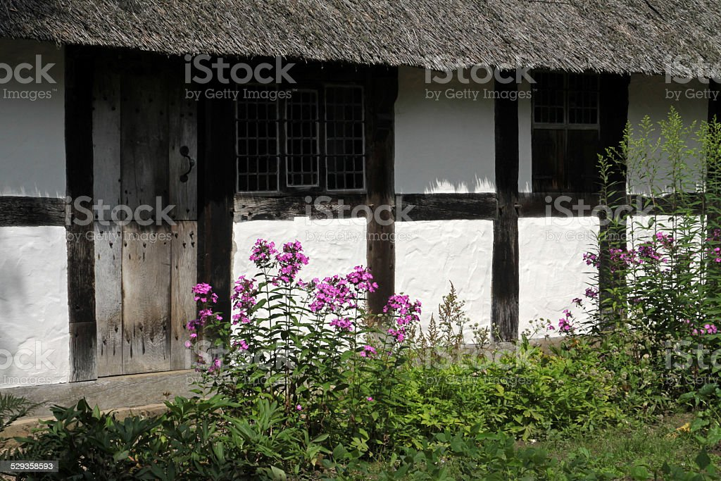 Half-timbered house with garden stock photo
