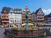 istock Half-timbered houses and Justice Fountain at Römerberg, Frankfurt 1255937612