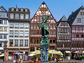 istock Half-timbered houses and Justice Fountain at Römerberg, Frankfurt 1255937812
