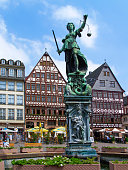 istock Half-timbered houses and Justice Fountain at Römerberg, Frankfurt 1255937813