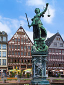 istock Half-timbered houses and Justice Fountain at Römerberg, Frankfurt 1255937844