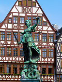 istock Half-timbered houses and Justice Fountain at Römerberg, Frankfurt 1255937845