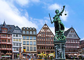 istock Half-timbered houses and Justice Fountain at Römerberg, Frankfurt 1255937923