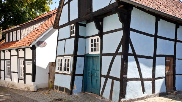 Half-timbered medieval blue house stock photo