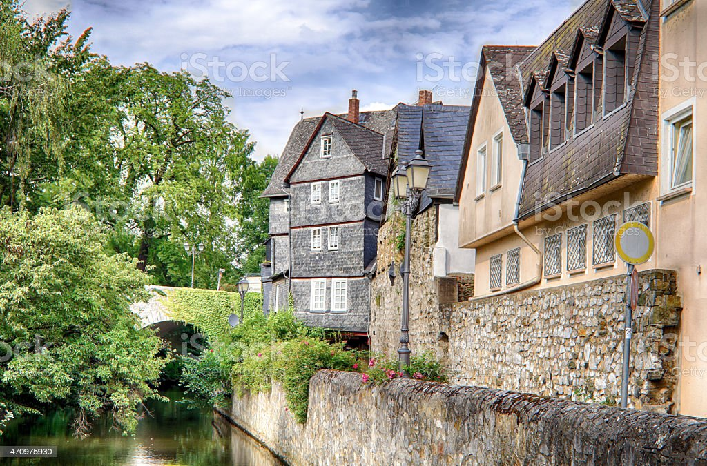 Half-timbered old houses stock photo