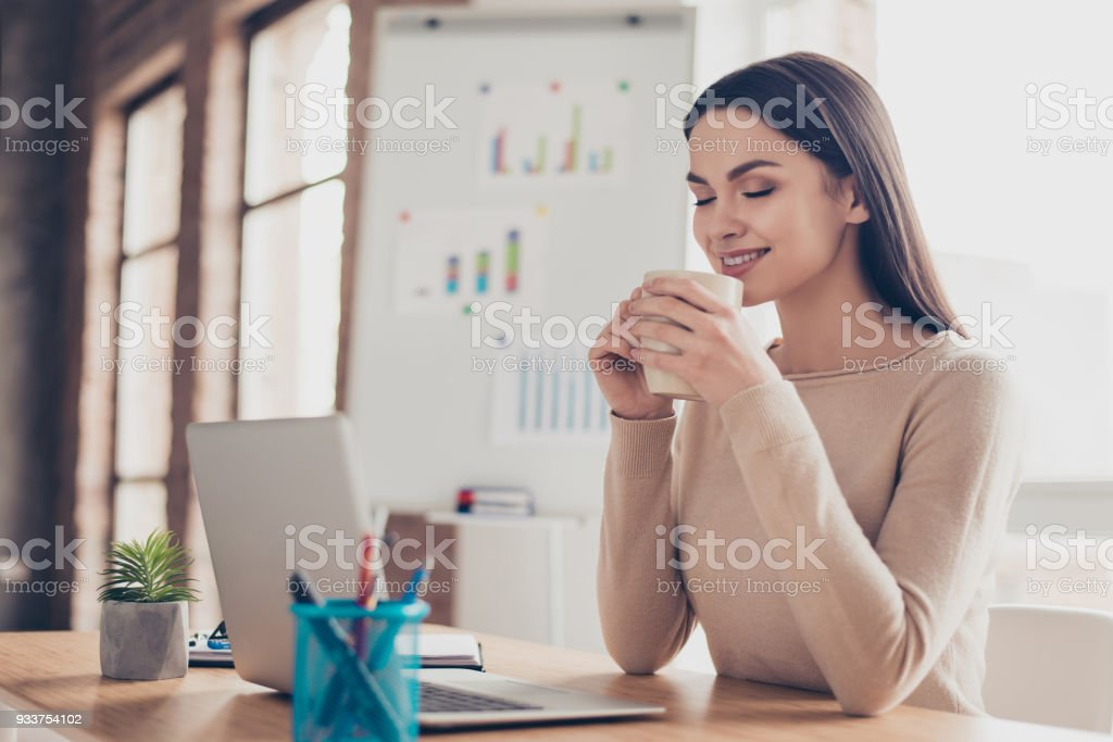 Half-turned portrait of cute calm peaceful feeling comfort coziness pretty tender gentle expert qualified travel agent having rest holding tasty fresh cup of tea in hands sitting at the desktop royalty-free stock photo