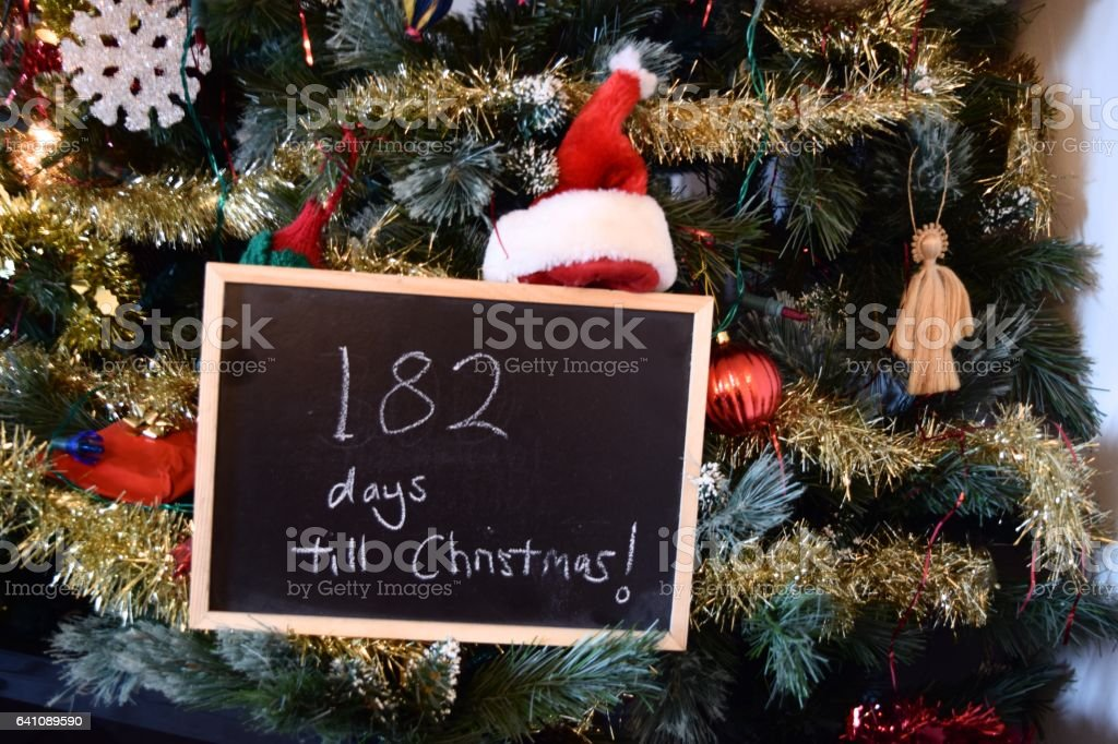 Days Until Christmas Countdown.Halfway 182 Days Until Christmas Countdown Sign Stock Photo