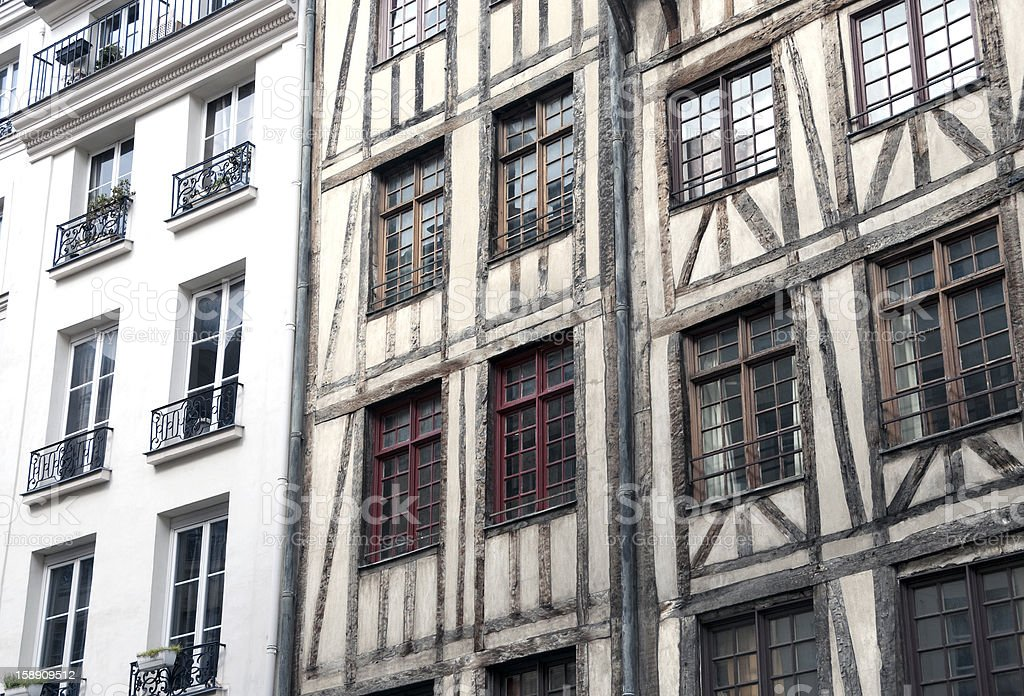 Half-wood houses in Paris royalty-free stock photo