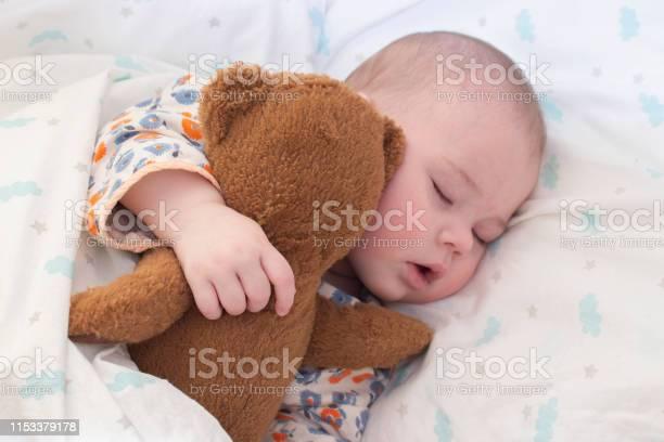 Halfyear baby kid sleeps with a teddy bear portrait of cute sleeping picture id1153379178?b=1&k=6&m=1153379178&s=612x612&h=xdbxzaryczsytuvhajfmheafxxkkyn4pi7vy2rsa0ow=