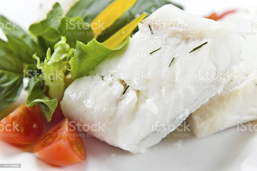 Halibut with greens royalty-free stock photo