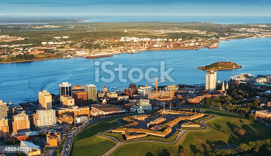 An aerial view of Citadel Hill located in the downtown core of Halifax.  Taken from an altitude of 500'.