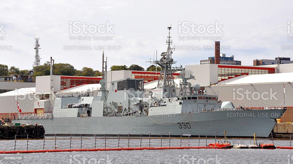 HMCS Halifax docked in Halifax Naval Base stock photo