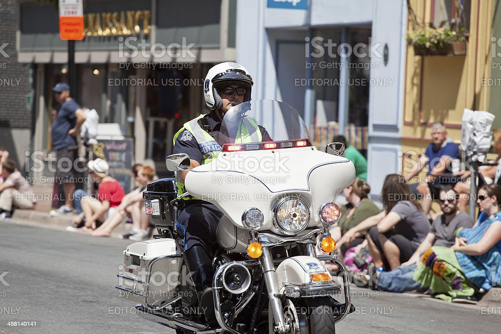 Halifax Regional Police Officer on Motorcycle royalty-free stock photo