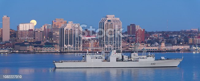 HALIFAX, CANADA - MAY 03, 2015:  Halifax is the capital of the province of Nova Scotia, Canada. HMCS Halifax is a Halifax-class frigate that has served in the Royal Canadian Navy since 1992.
