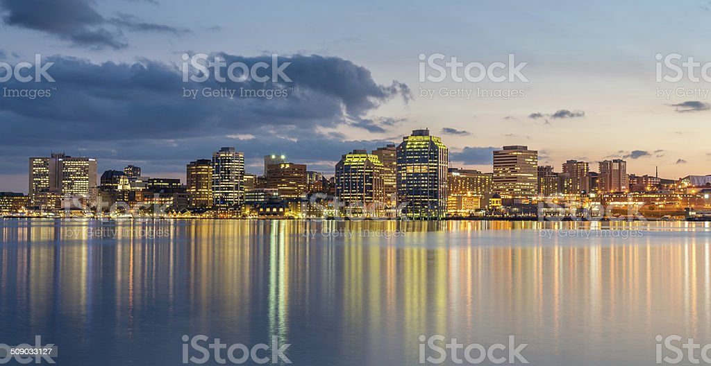 Halifax Skyline at Night, Panorama, Canada stock photo