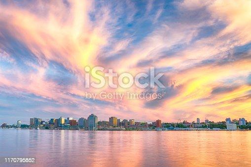 Amazing cloudscape over the Halifax, Nova Scotia city skyline at sunset