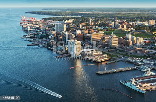 A low altitude aerial view of the Halifax skyline and waterfront in late evening. Taken from an altitude of 800'.
