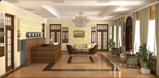 hall, hotel lobby, interior visualization, 3d illustration - hotel reception zdjęcia i obrazy z banku zdjęć