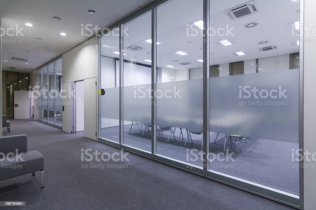 Hall in business building stock photo