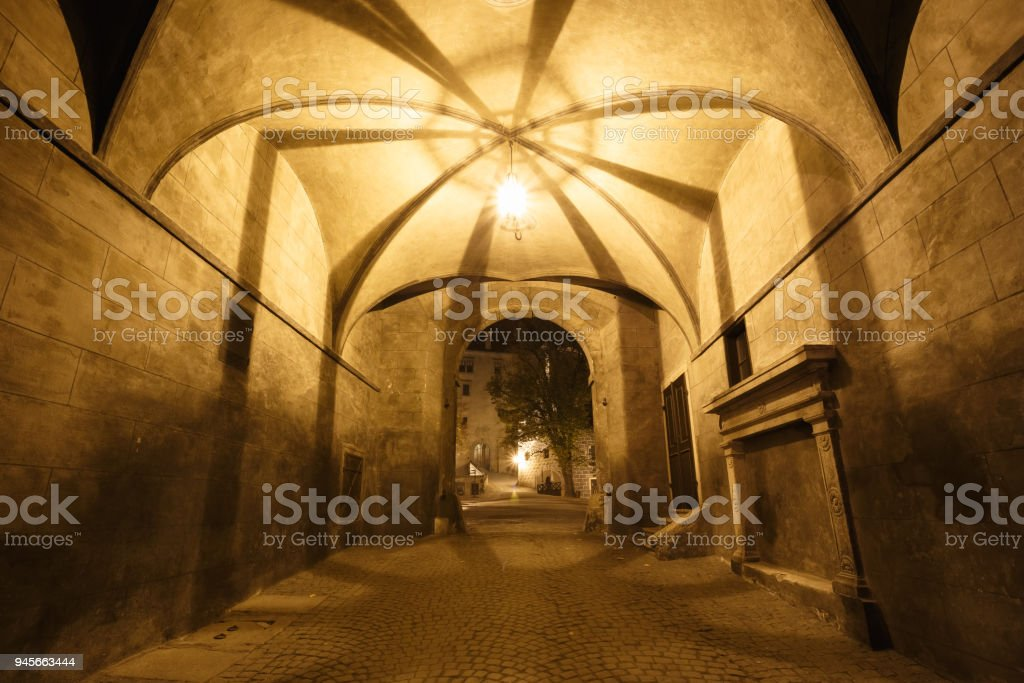 Hall in Cesky Krumlov, Czech republic. UNESCO World Heritage Site stock photo