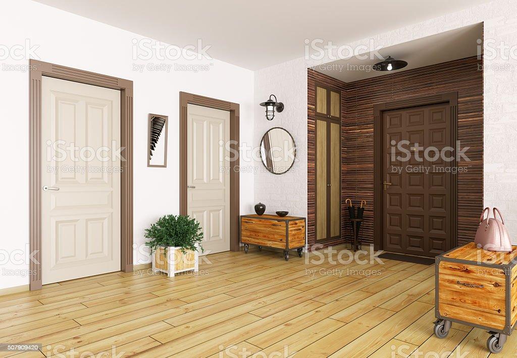 Hall interior 3d render stock photo