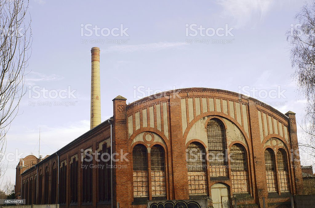 Hall of brick factory stock photo