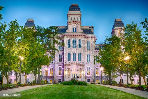 Syracuse, New York, USA - June 15, 2018:  The Hall of Languages was the first building of Syracuse University and built in 1871.