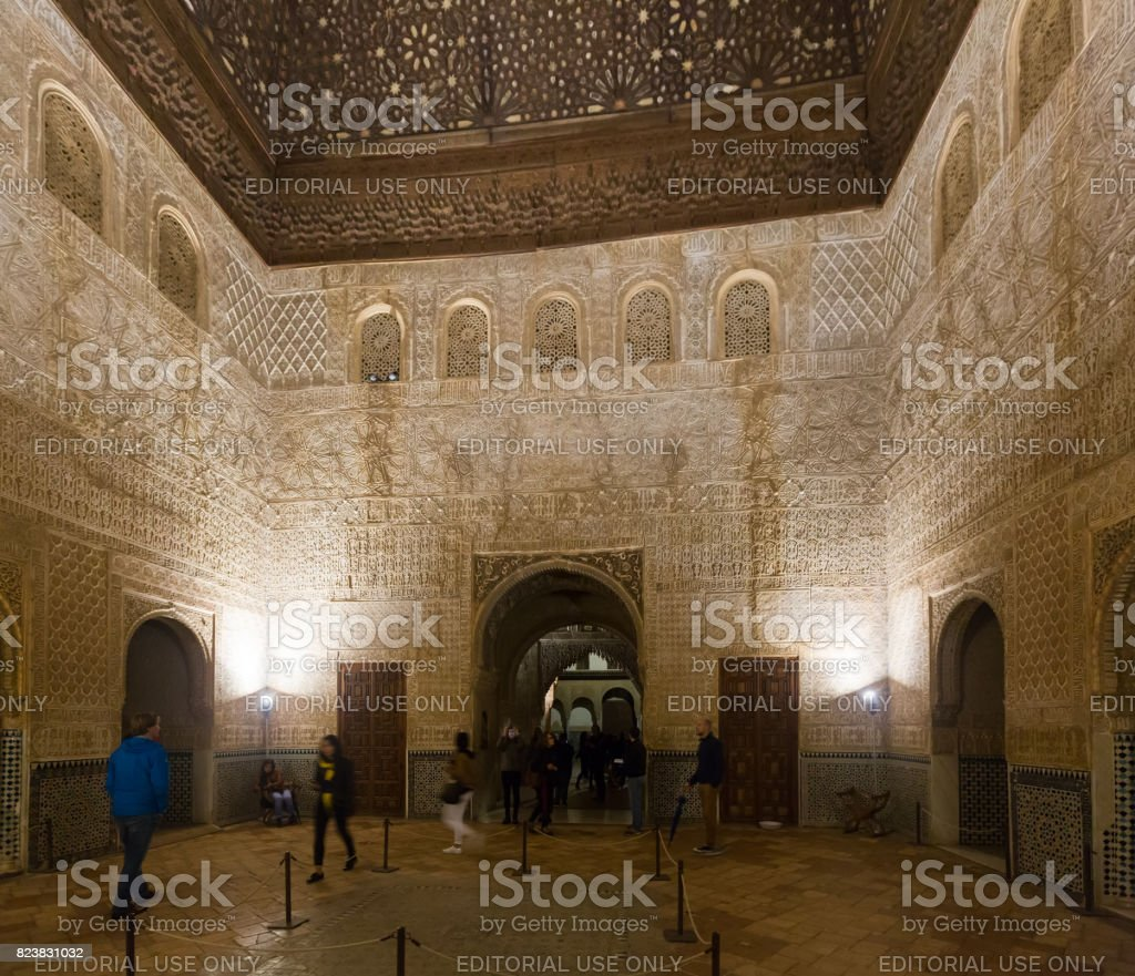 Hall of the Ambassadors(Salon de los Embajadores) at Alhambra stock photo