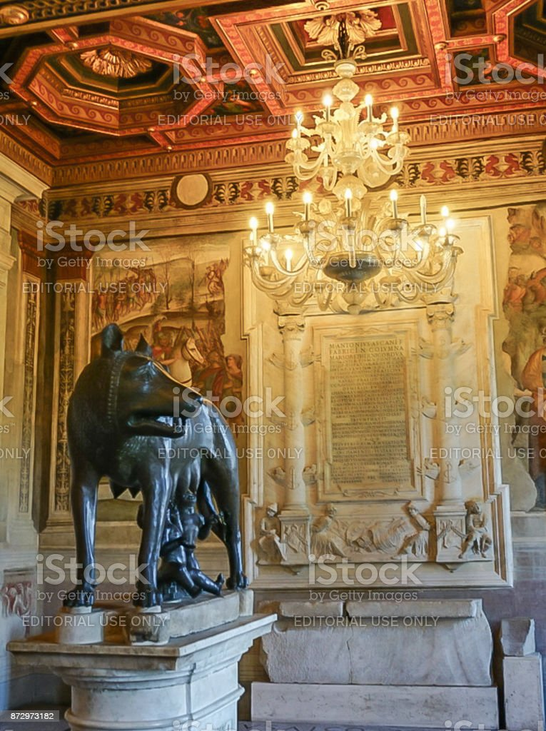 ROME, ITALY- OCTOBER 10, 2017:  Hall of the She-wolf  in the Musei Capitolini stock photo