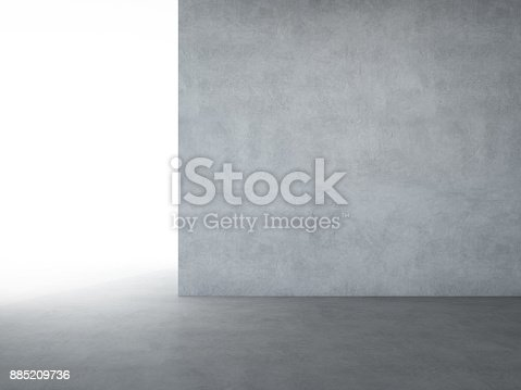 istock Hall or showroom with empty dark concrete floor and gray wall background in modern loft design - Abstract interior 3d illustration 885209736