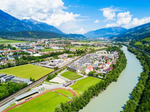 hall tirol luftbild - hotel alpenblick stock-fotos und bilder