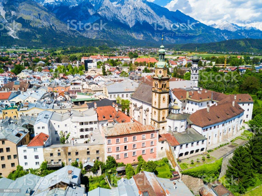 Hall Tirol aerial view stock photo